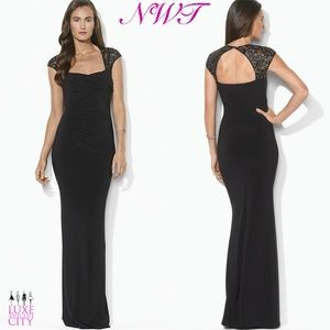 Embellished Open Back Black Evening Gown NWT
